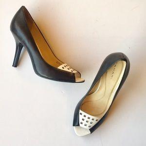 Tahari black & white peep toes w laser cutouts